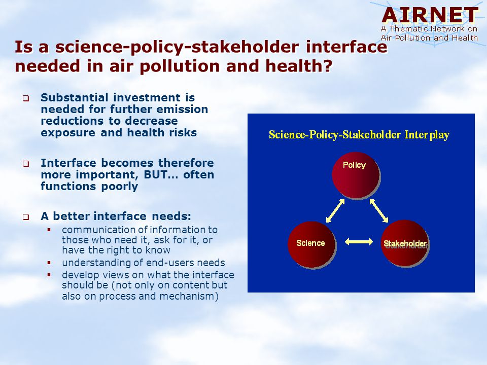 Is a science-policy-stakeholder interface needed in air pollution and health.