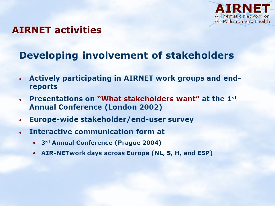 AIRNET activities Developing involvement of stakeholders Actively participating in AIRNET work groups and end- reports Presentations on What stakeholders want at the 1 st Annual Conference (London 2002) Europe-wide stakeholder/end-user survey Interactive communication form at 3 rd Annual Conference (Prague 2004) AIR-NETwork days across Europe (NL, S, H, and ESP)