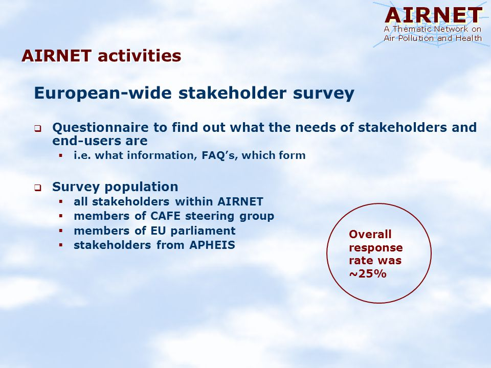 AIRNET activities European-wide stakeholder survey Questionnaire to find out what the needs of stakeholders and end-users are i.e.