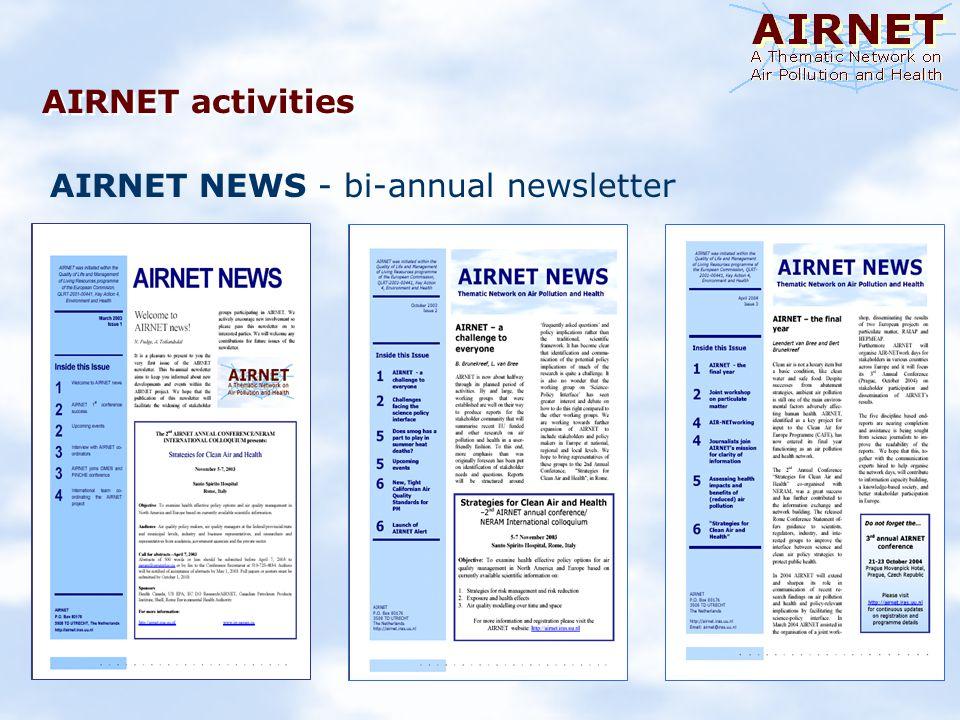 AIRNET activities AIRNET NEWS - bi-annual newsletter