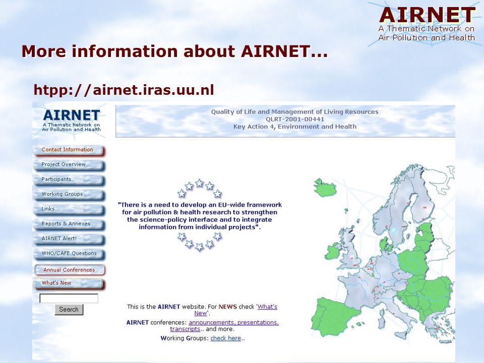 More information about AIRNET... htpp://airnet.iras.uu.nl