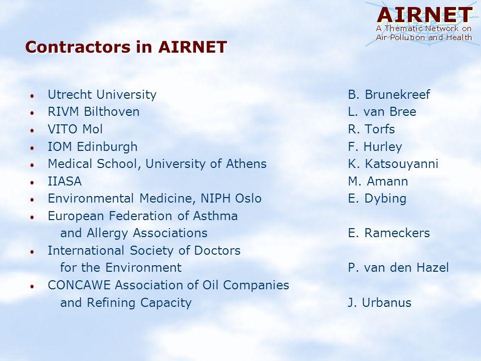 Contractors in AIRNET Utrecht University B. Brunekreef RIVM Bilthoven L.