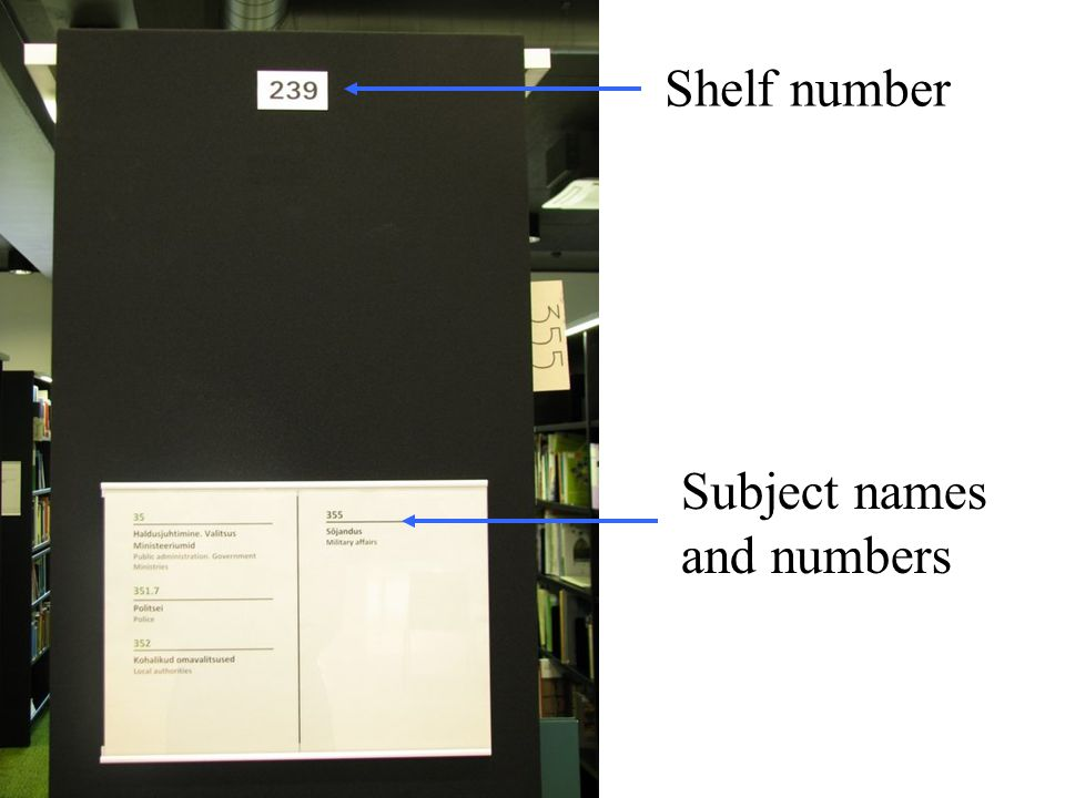 Shelf number Subject names and numbers
