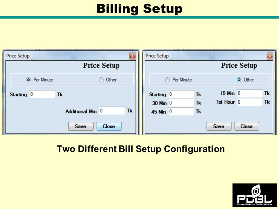 Two Different Bill Setup Configuration Billing Setup