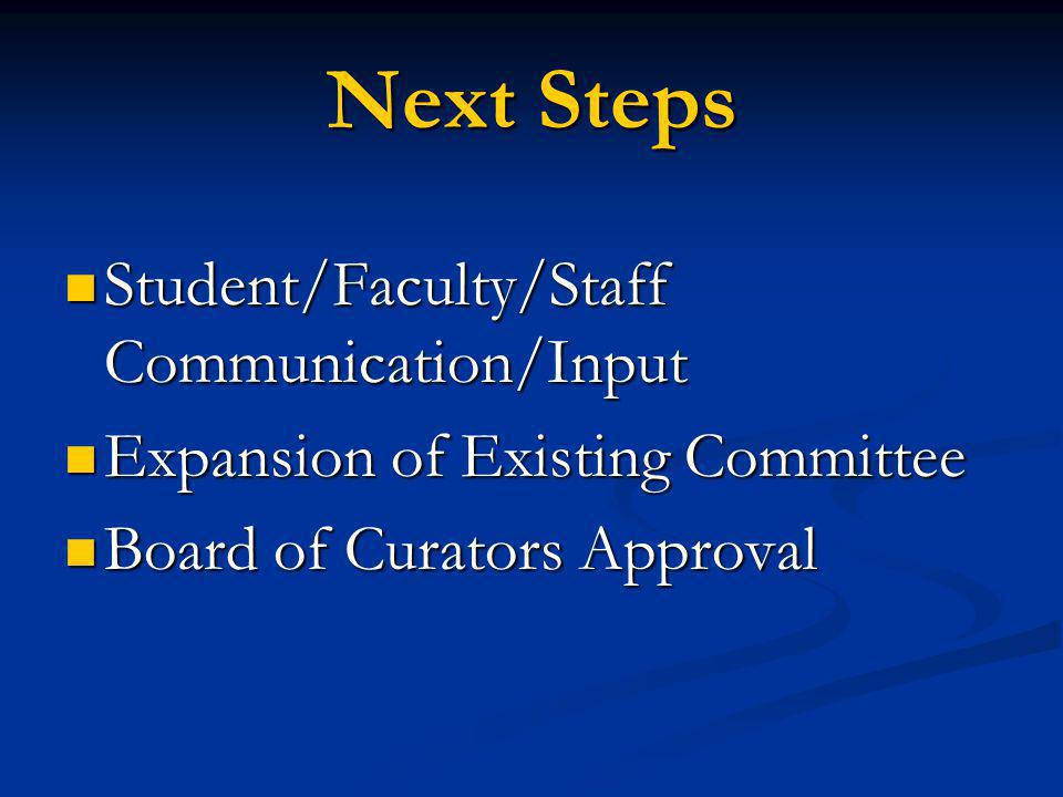 Next Steps Student/Faculty/Staff Communication/Input Student/Faculty/Staff Communication/Input Expansion of Existing Committee Expansion of Existing Committee Board of Curators Approval Board of Curators Approval