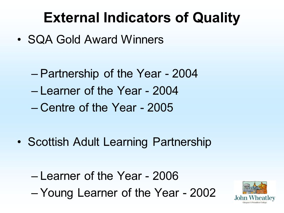 External Indicators of Quality SQA Gold Award Winners –Partnership of the Year –Learner of the Year –Centre of the Year Scottish Adult Learning Partnership –Learner of the Year –Young Learner of the Year