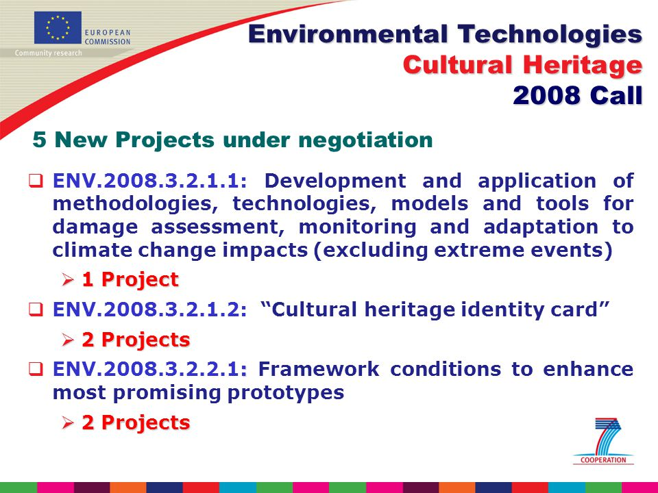 ENV : Development and application of methodologies, technologies, models and tools for damage assessment, monitoring and adaptation to climate change impacts (excluding extreme events) 1 Project 1 Project ENV : Cultural heritage identity card 2 Projects 2 Projects : ENV : Framework conditions to enhance most promising prototypes 2 Projects 2 Projects Environmental Technologies Cultural Heritage 2008 Call 5 New Projects under negotiation