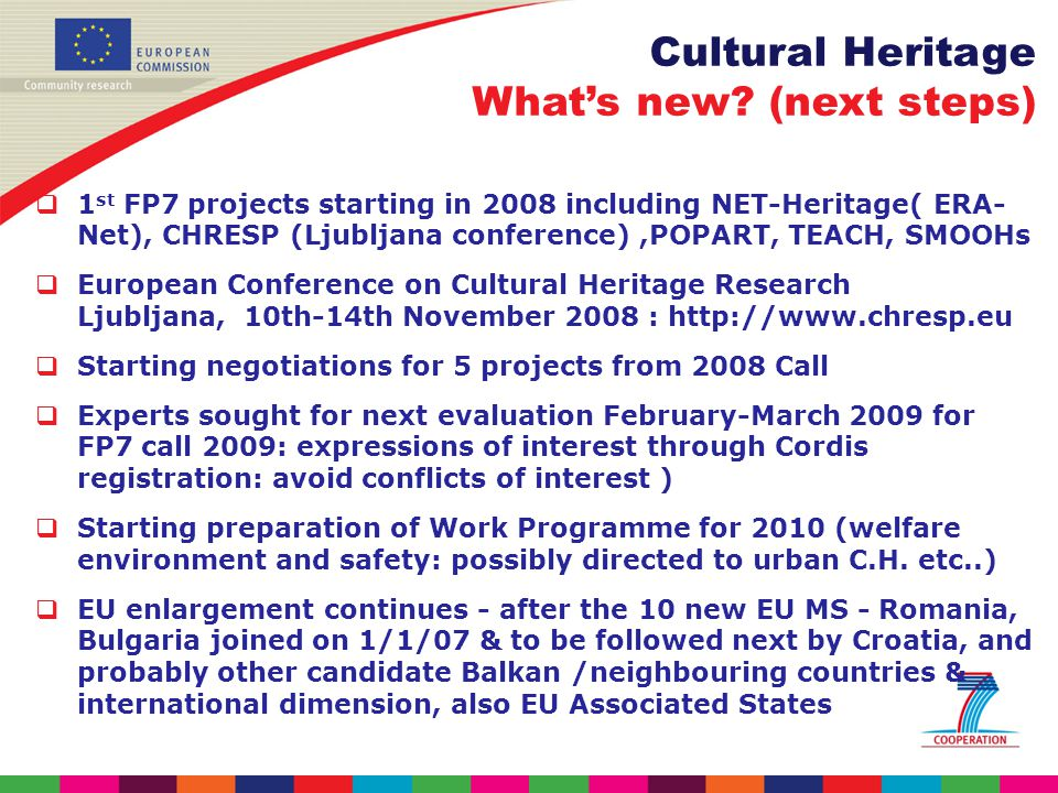 Cultural Heritage Whats new.