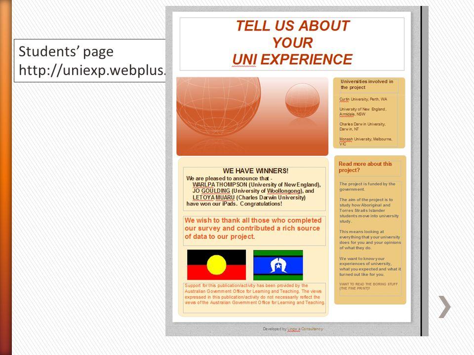 Students page http://uniexp.webplus.net