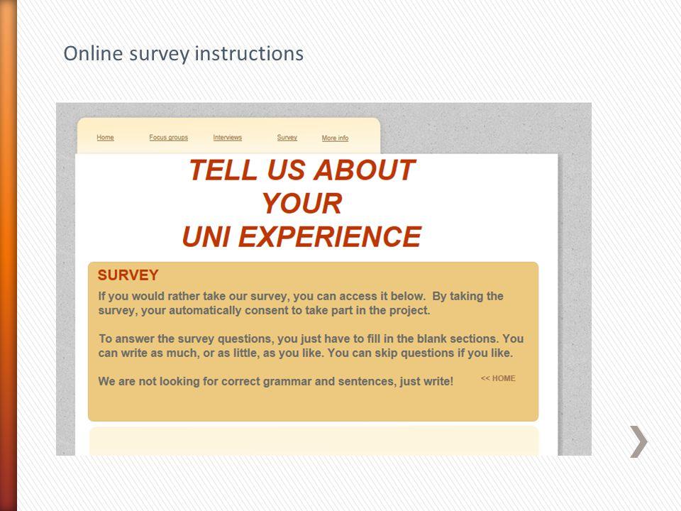 Online survey instructions