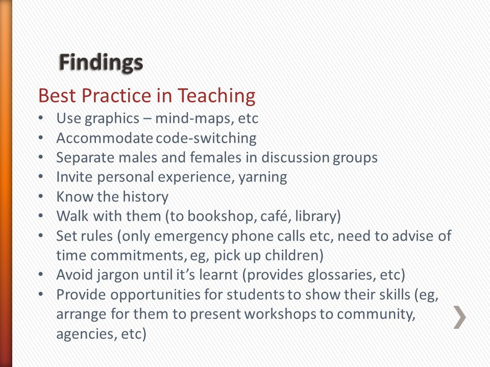 Best Practice in Teaching Use graphics – mind-maps, etc Accommodate code-switching Separate males and females in discussion groups Invite personal experience, yarning Know the history Walk with them (to bookshop, café, library) Set rules (only emergency phone calls etc, need to advise of time commitments, eg, pick up children) Avoid jargon until its learnt (provides glossaries, etc) Provide opportunities for students to show their skills (eg, arrange for them to present workshops to community, agencies, etc)