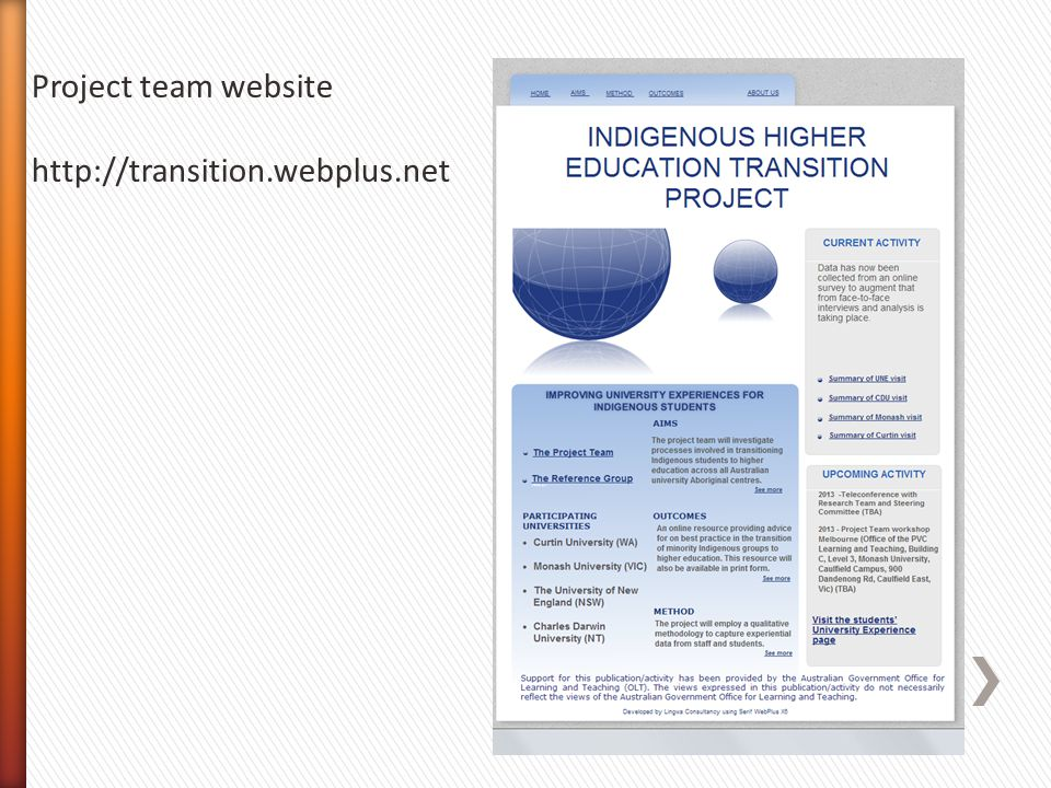 Project team website http://transition.webplus.net