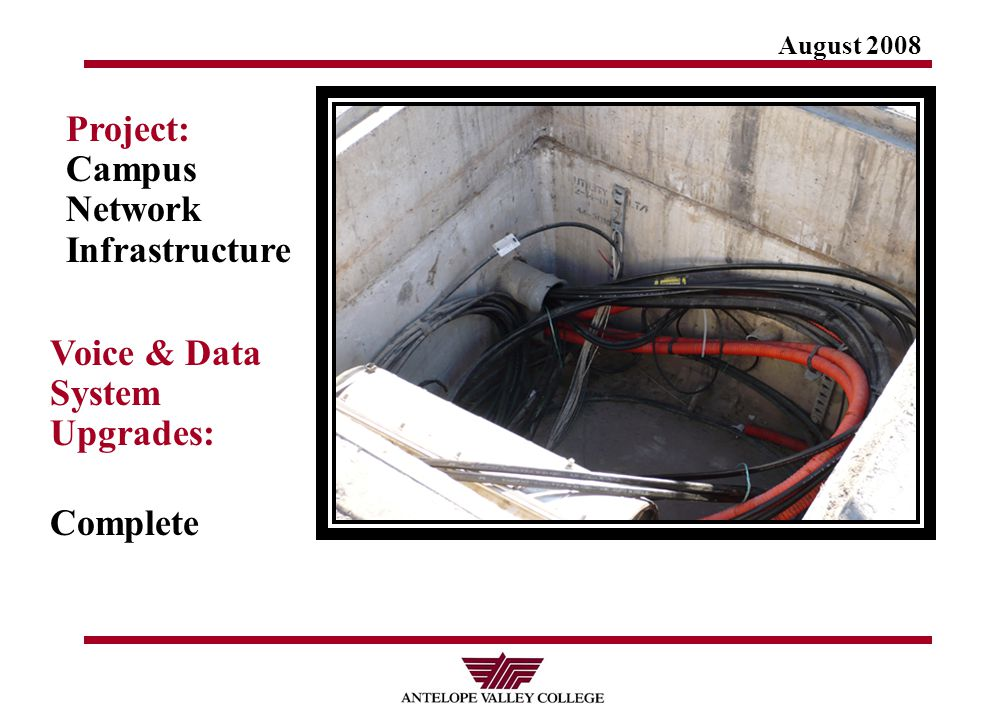 August 2008 Project: Campus Network Infrastructure Voice & Data System Upgrades: Complete
