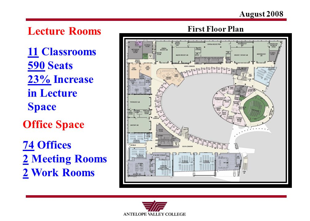 August 2008 First Floor Plan Lecture Rooms 11 Classrooms 590 Seats 23% Increase in Lecture Space Office Space 74 Offices 2 Meeting Rooms 2 Work Rooms