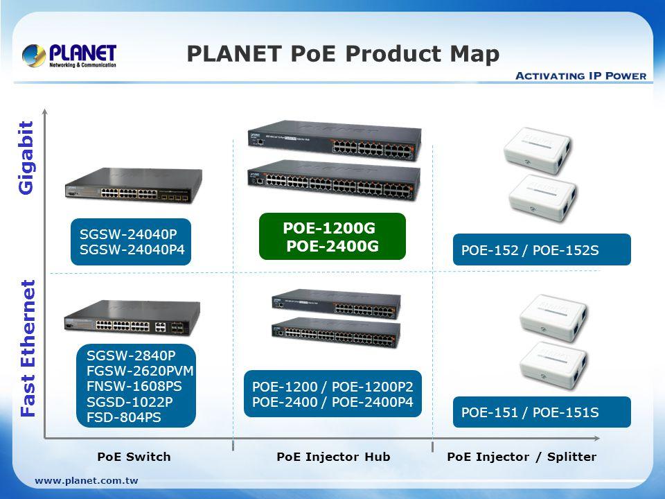 www.planet.com.tw PLANET PoE Product Map PoE Switch Fast Ethernet Gigabit PoE Injector HubPoE Injector / Splitter SGSW-24040P SGSW-24040P4 SGSW-2840P FGSW-2620PVM FNSW-1608PS SGSD-1022P FSD-804PS POE-1200 / POE-1200P2 POE-2400 / POE-2400P4 POE-152 / POE-152S POE-151 / POE-151S POE-1200G POE-2400G