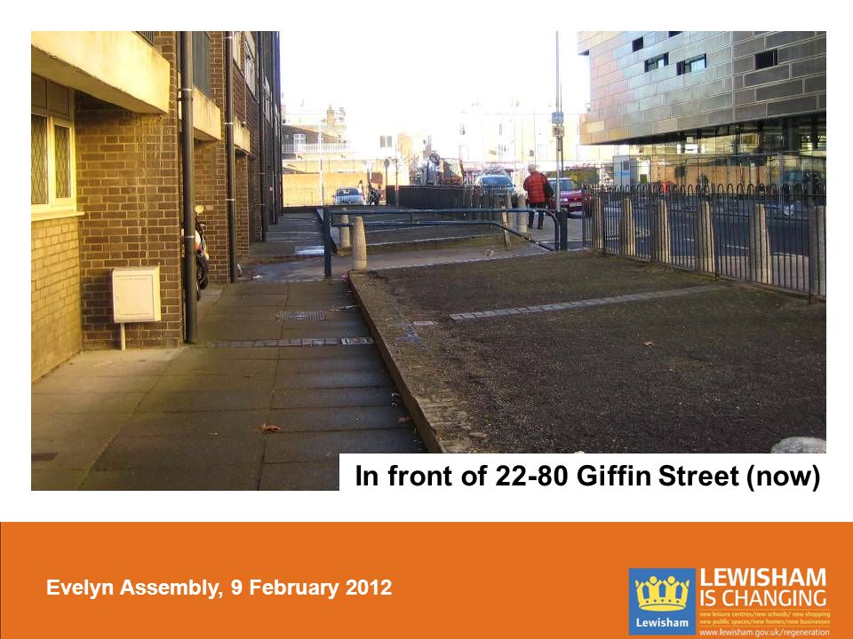 In front of 22-80 Giffin Street (now) Evelyn Assembly, 9 February 2012
