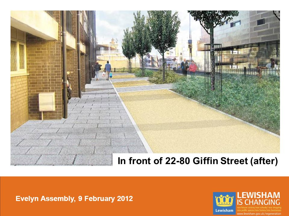 In front of 22-80 Giffin Street (after) Evelyn Assembly, 9 February 2012
