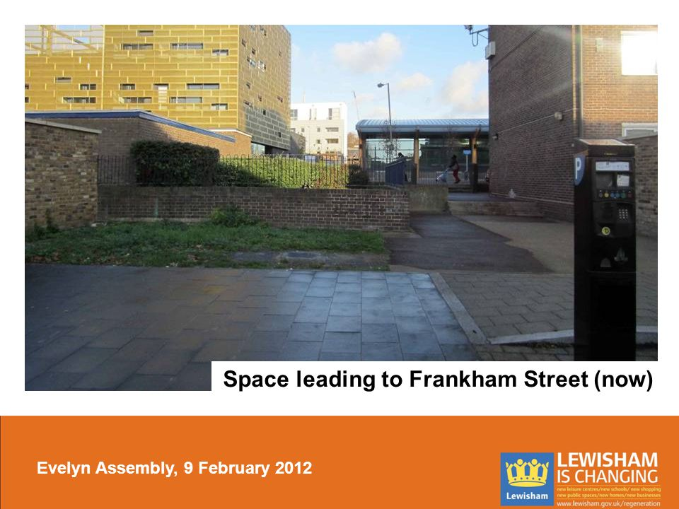 Space leading to Frankham Street (now) Evelyn Assembly, 9 February 2012