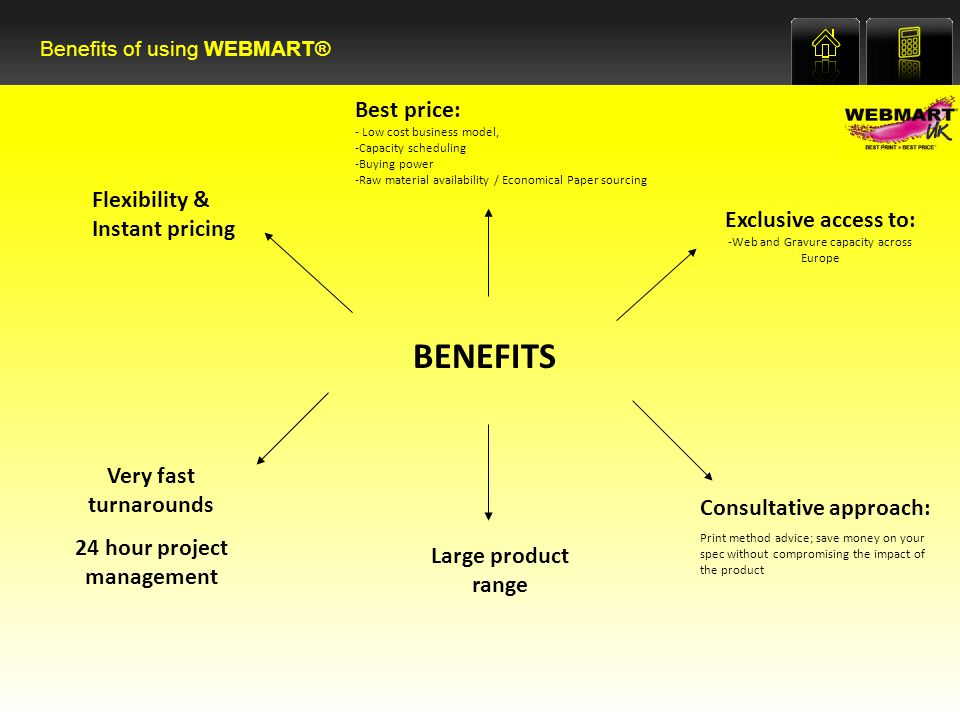 BENEFITS Best price: - Low cost business model, -Capacity scheduling -Buying power -Raw material availability / Economical Paper sourcing Flexibility & Instant pricing Consultative approach: Print method advice; save money on your spec without compromising the impact of the product Very fast turnarounds 24 hour project management Exclusive access to: -Web and Gravure capacity across Europe Large product range Benefits of using WEBMART®