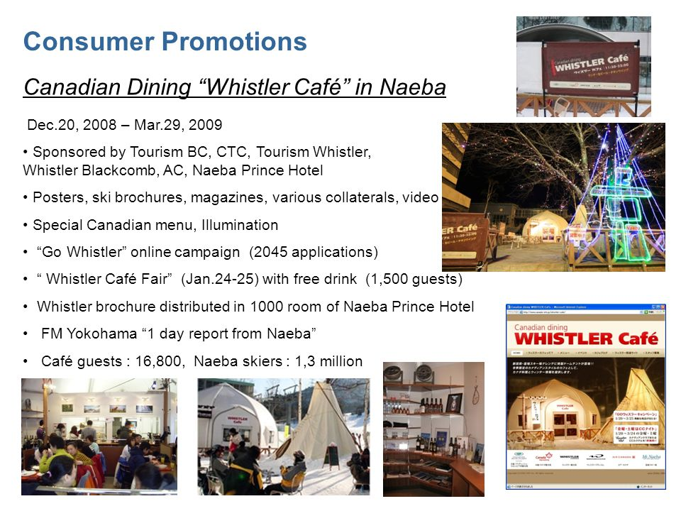 Consumer Promotions Canadian Dining Whistler Café in Naeba Dec.20, 2008 – Mar.29, 2009 Sponsored by Tourism BC, CTC, Tourism Whistler, Whistler Blackcomb, AC, Naeba Prince Hotel Posters, ski brochures, magazines, various collaterals, video Special Canadian menu, Illumination Go Whistler online campaign (2045 applications) Whistler Café Fair (Jan.24-25) with free drink (1,500 guests) Whistler brochure distributed in 1000 room of Naeba Prince Hotel FM Yokohama 1 day report from Naeba Café guests : 16,800, Naeba skiers : 1,3 million