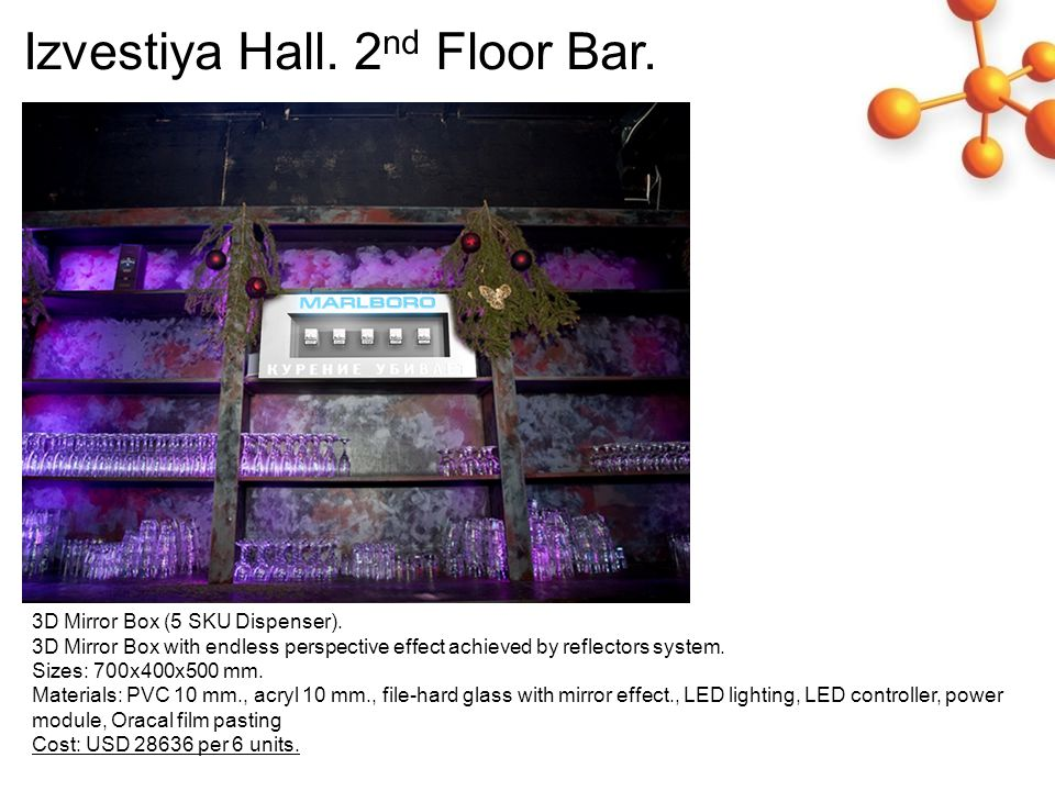 Izvestiya Hall. 2 nd Floor Bar. 3D Mirror Box (5 SKU Dispenser).