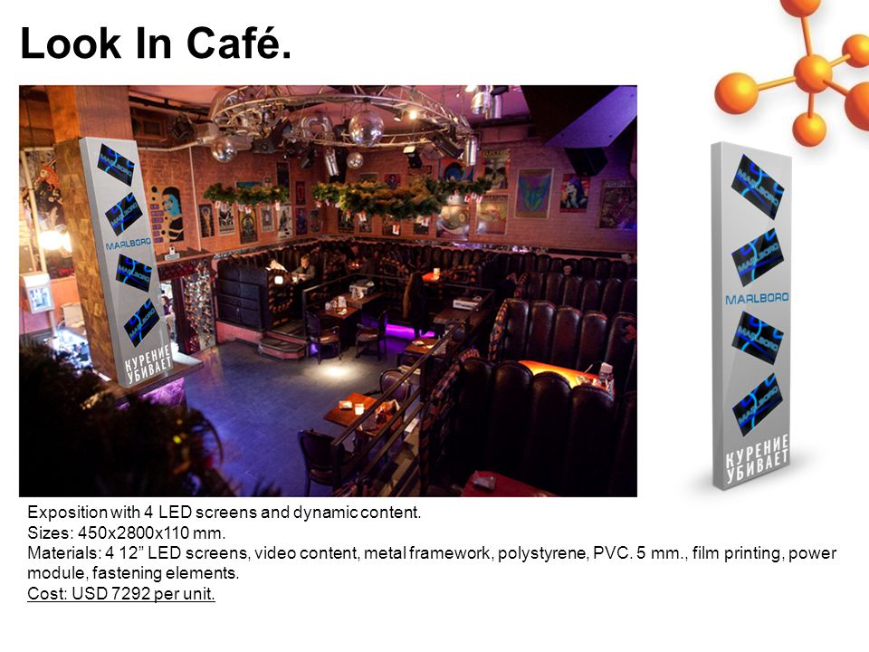 Look In Café. Exposition with 4 LED screens and dynamic content.