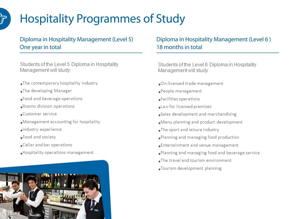 Students of the Level 5 Diploma in Hospitality Management will study: The contemporary hospitality industry The developing Manager Food and beverage o