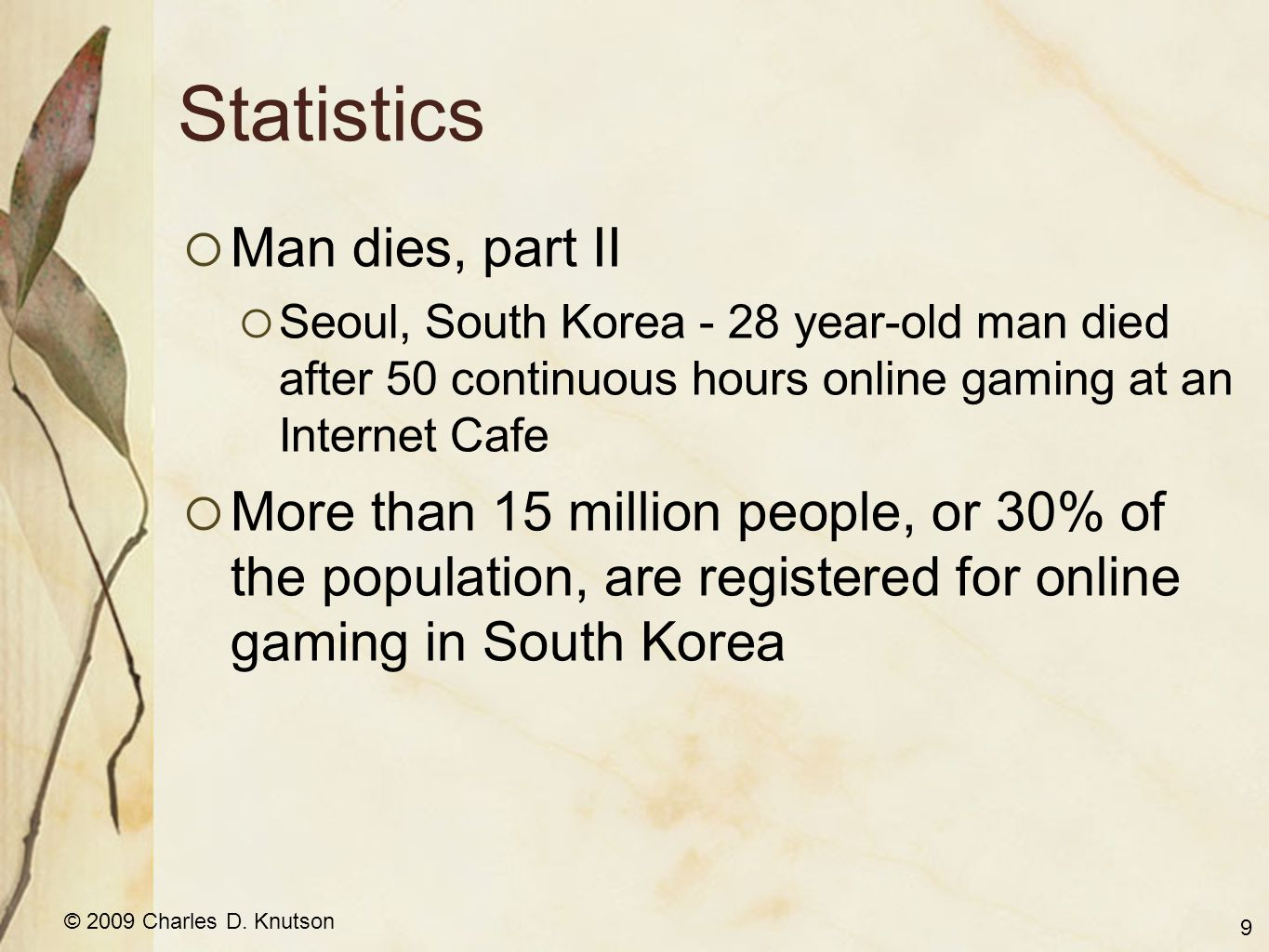 © 2009 Charles D.Knutson Statistics What percent are addicted.