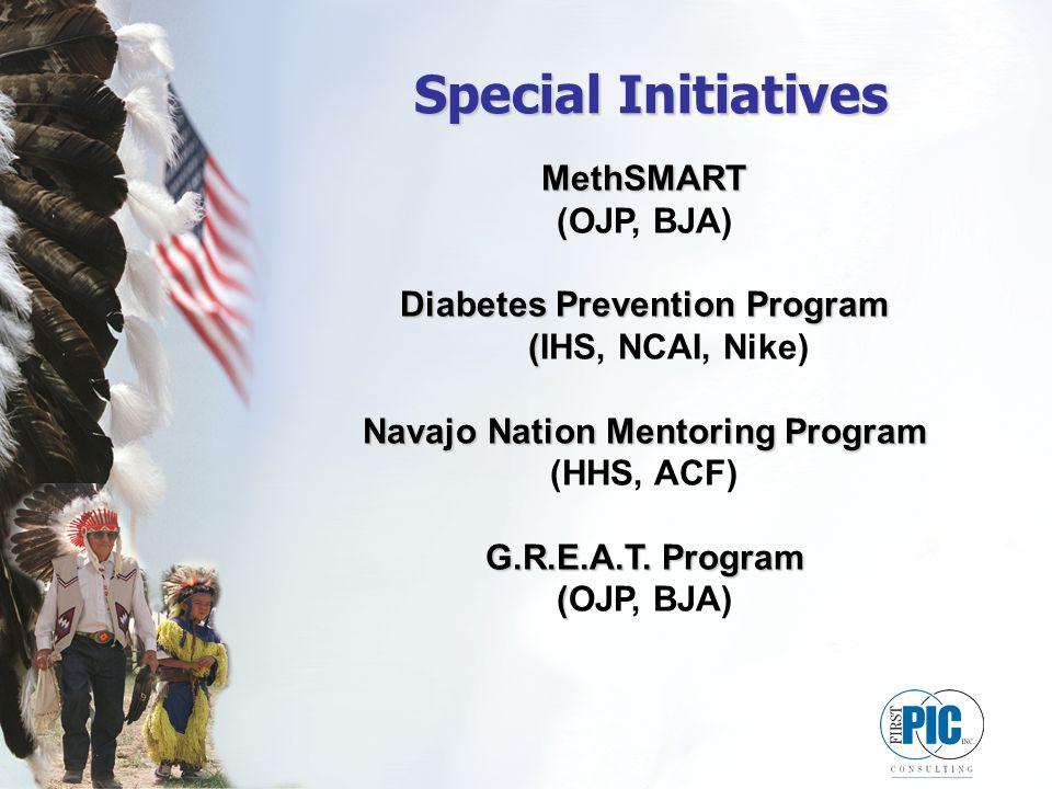 Special Initiatives MethSMART (OJP, BJA) Diabetes Prevention Program ( Diabetes Prevention Program (IHS, NCAI, Nike) Navajo Nation Mentoring Program (