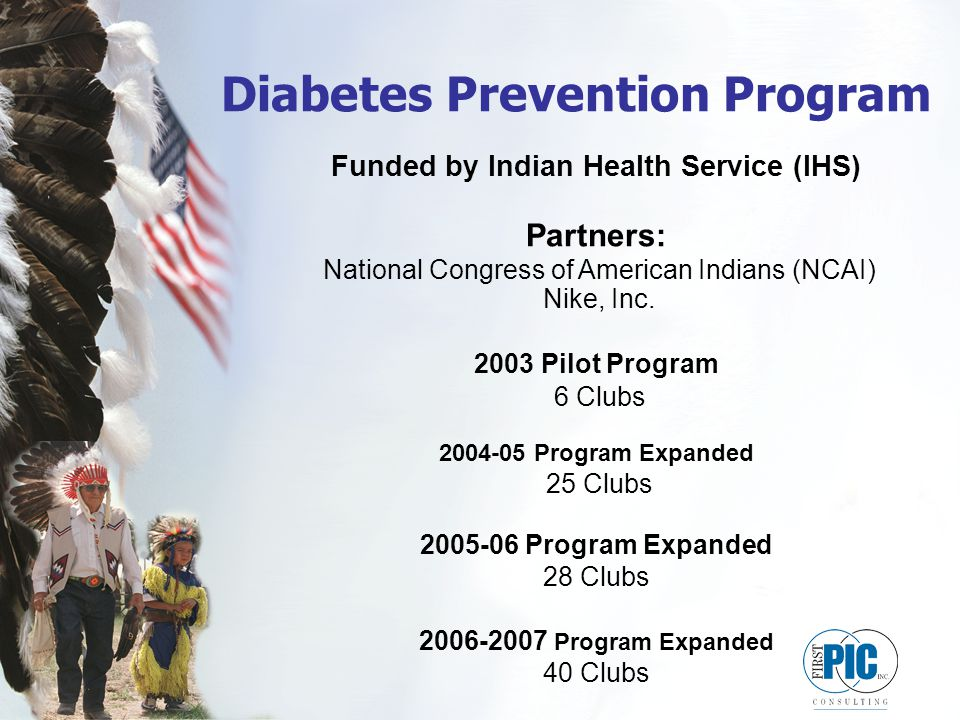 Diabetes Prevention Program Funded by Indian Health Service (IHS) Partners: National Congress of American Indians (NCAI) Nike, Inc.