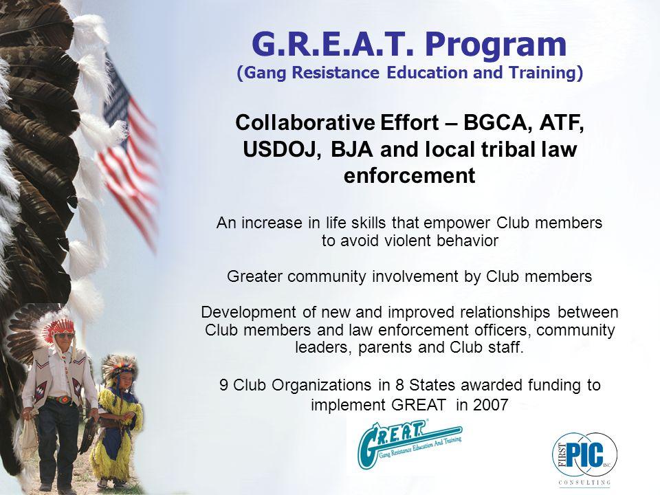 G.R.E.A.T. Program (Gang Resistance Education and Training) Collaborative Effort – BGCA, ATF, USDOJ, BJA and local tribal law enforcement An increase