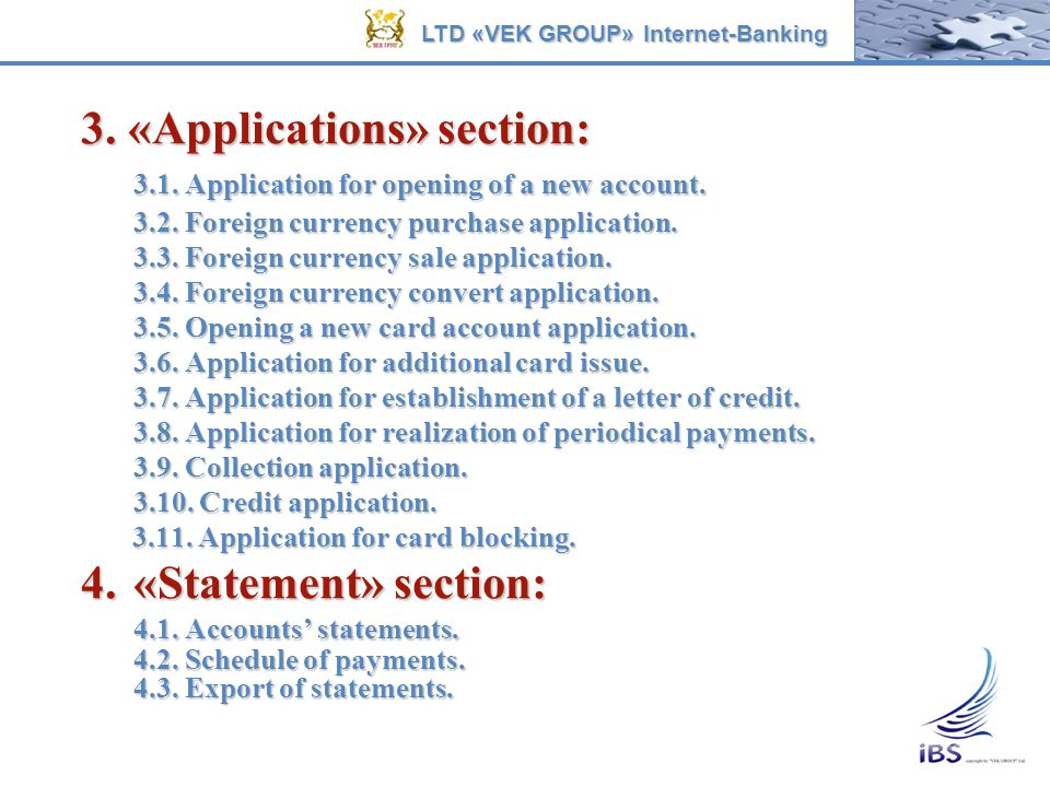 3. «Applications» section: 3.1. Application for opening of a new account. 3.2. Foreign currency purchase application. 3.3. Foreign currency sale appli