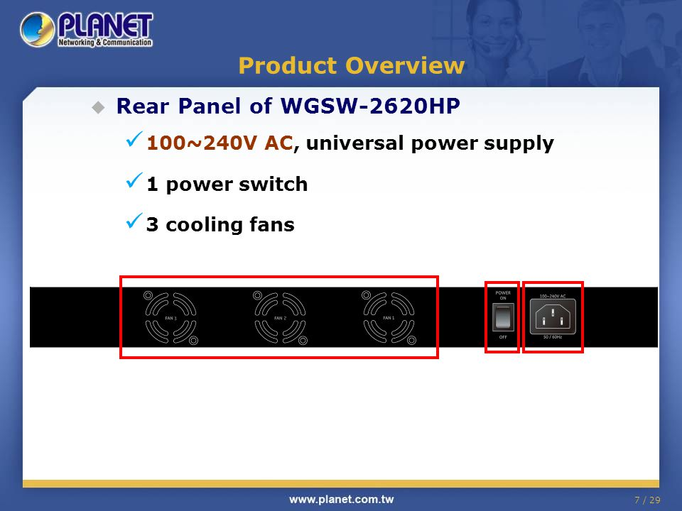 7 / 29 Product Overview Rear Panel of WGSW-2620HP 100~240V AC, universal power supply 1 power switch 3 cooling fans
