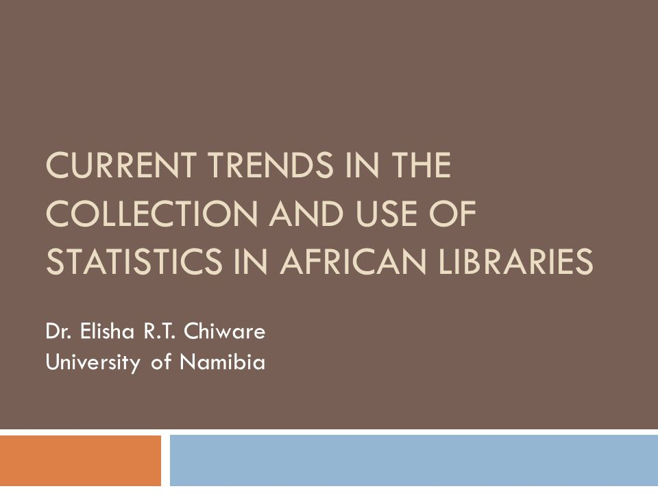 Types of library statistics collected A wide variety of statistics were collected, as well as a wide range in the frequency of collection The main types of statistics collected by most libraries: Number of loans: 85.7% Library acquisitions: 85.7% Library materials processing (i.e.