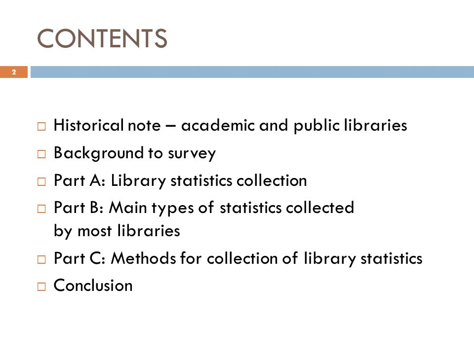 Other statistics also collected 23 TypeFrequency Number of e-resources in the library57.1% Number of downloads per person42.9% Number of library visitors64.3% Weekly opening hours35.7% Number of reference questions64.3% Registered number of library users57.1% Size of library collections64.3% Size of library budget64.3% Library use training64.3% Library seating capacity50% Library shelving35.7% Events in the library42.9% Other: number of pages updated on the librarys website, number of hits per page on the librarys website, ETDs added to the information resources, ILL fill rates, gate counts, use of the Internet Café, use of periodicals, in-house use of information resources.