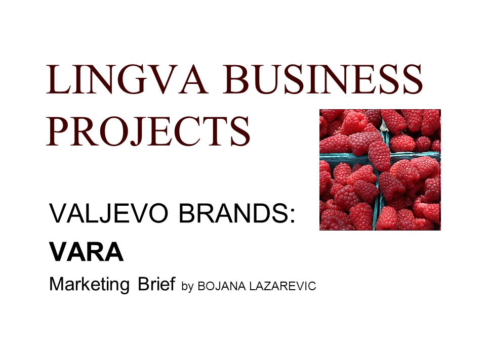 LINGVA BUSINESS PROJECTS VALJEVO BRANDS: VARA Marketing Brief by BOJANA LAZAREVIC