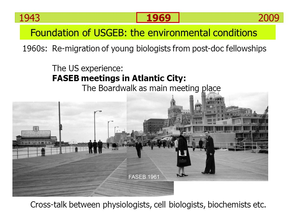 1943 1969 2009 1960s: Re-migration of young biologists from post-doc fellowships The US experience: FASEB meetings in Atlantic City: The Boardwalk as
