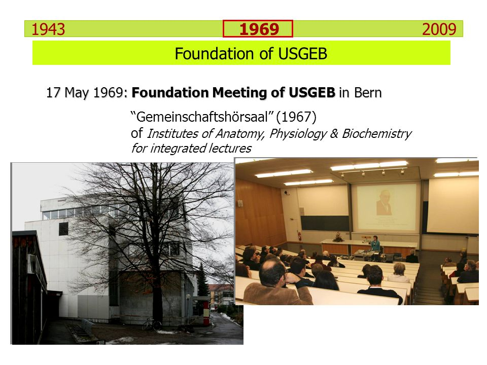 1943 1969 2009 Foundation of USGEB 17 May 1969: Foundation Meeting of USGEB in Bern Gemeinschaftshörsaal (1967) of Institutes of Anatomy, Physiology &