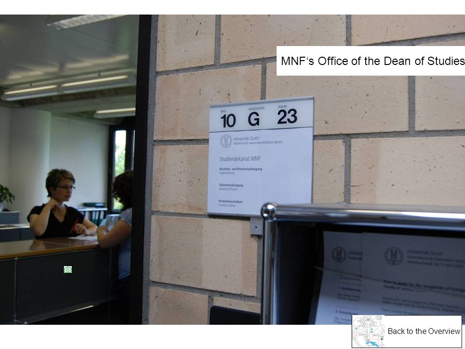Back to the Overview MNFs Office of the Dean of Studies