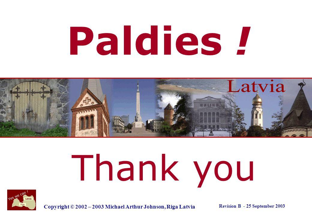 Revision B - 25 September 2003 Copyright © 2002 – 2003 Michael Arthur Johnson, Riga Latvia Thanks for asking .