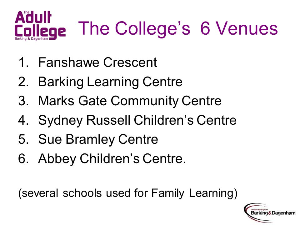 The Colleges 6 Venues 1.Fanshawe Crescent 2.Barking Learning Centre 3.Marks Gate Community Centre 4.Sydney Russell Childrens Centre 5.Sue Bramley Centre 6.Abbey Childrens Centre.