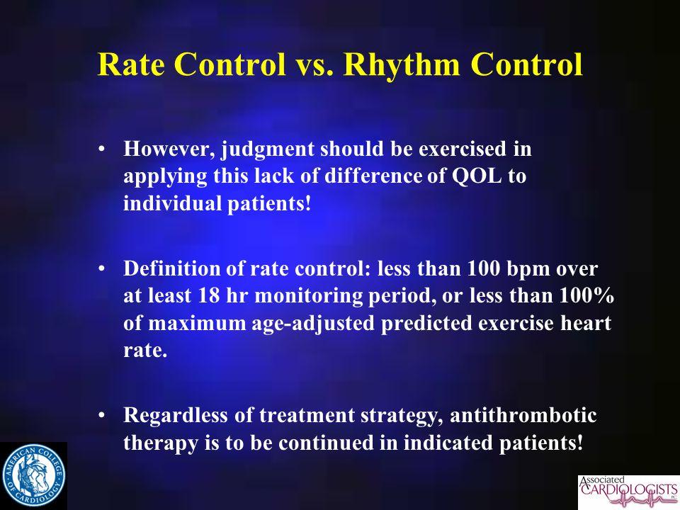 Rate Control vs.