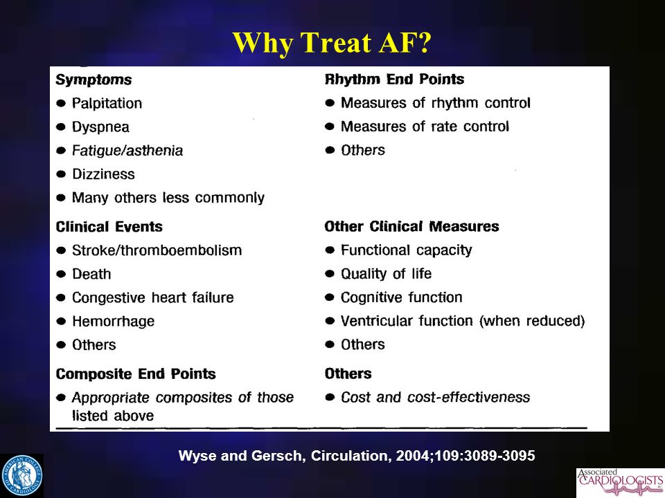 Why Treat AF? Wyse and Gersch, Circulation, 2004;109:3089-3095