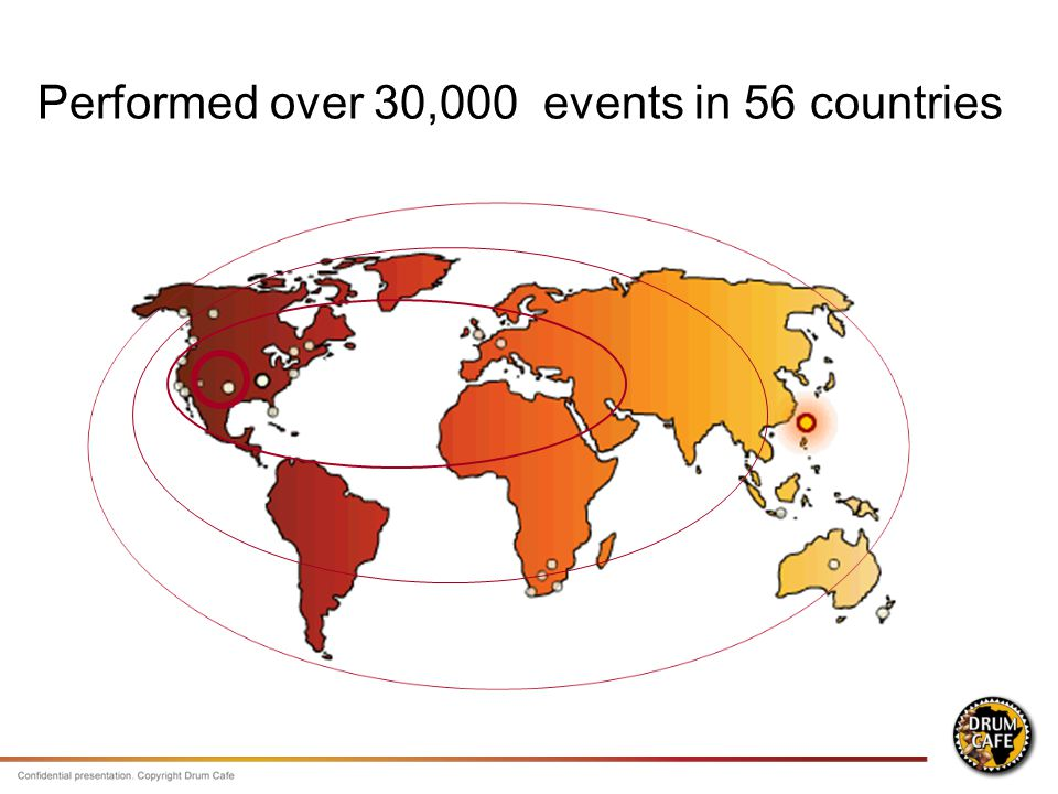 Performed over 30,000 events in 56 countries