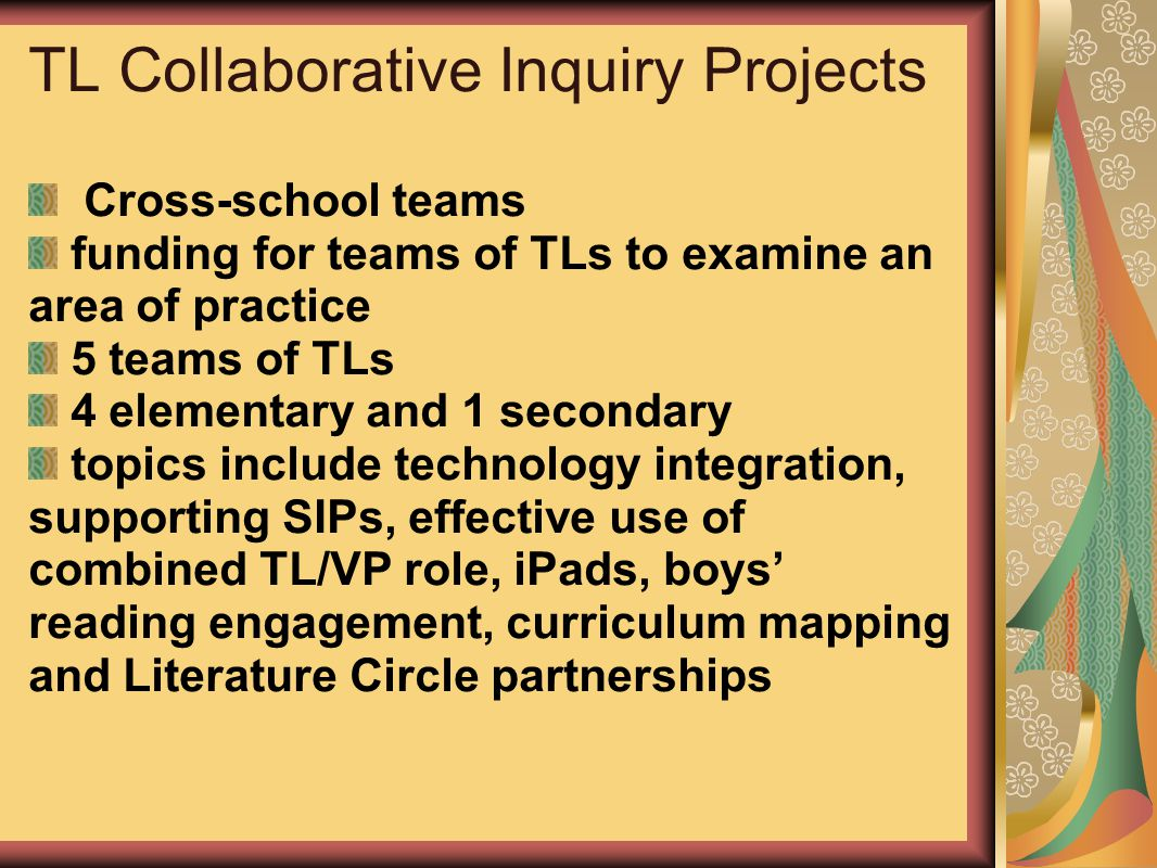 TL Collaborative Inquiry Projects Cross-school teams funding for teams of TLs to examine an area of practice 5 teams of TLs 4 elementary and 1 seconda