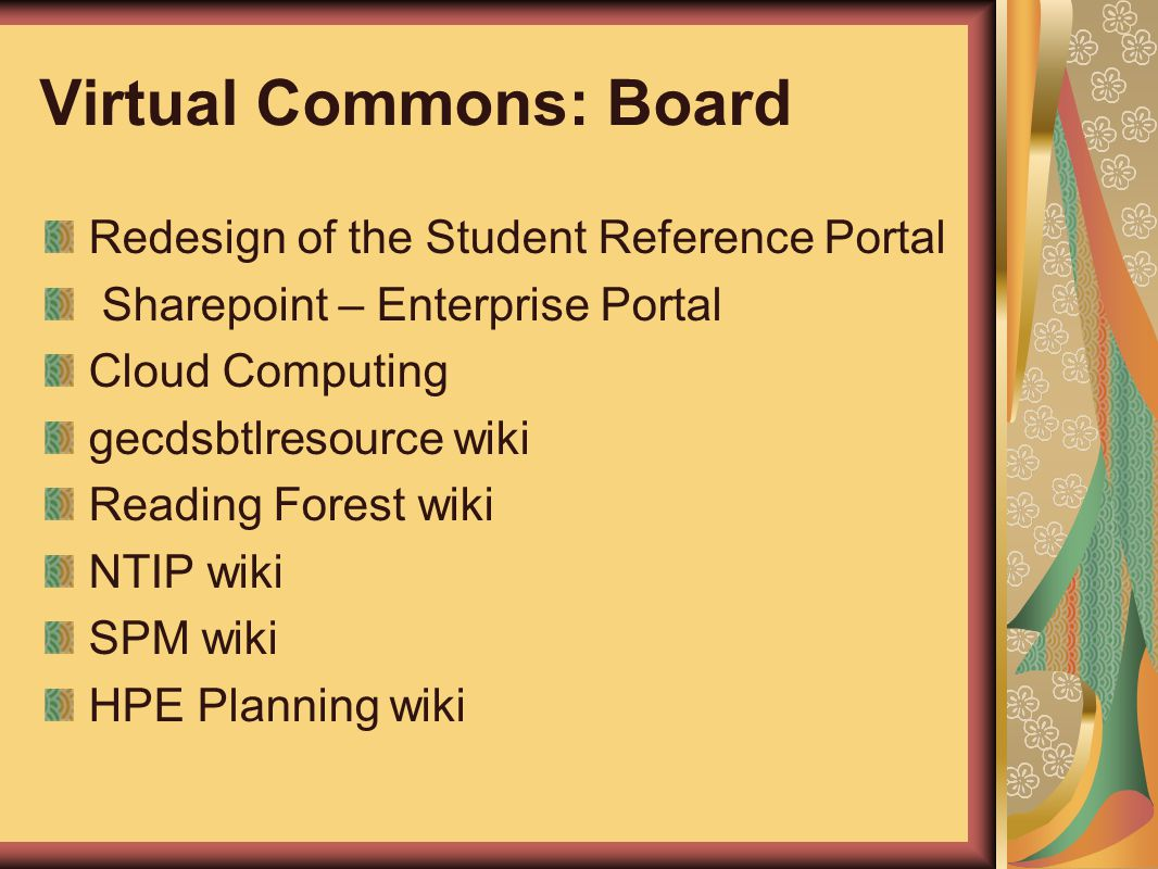 Virtual Commons: Board Redesign of the Student Reference Portal Sharepoint – Enterprise Portal Cloud Computing gecdsbtlresource wiki Reading Forest wi
