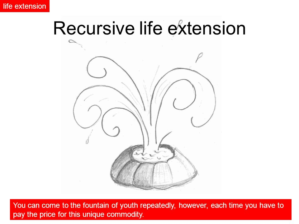 Recursive life extension life extension You can come to the fountain of youth repeatedly, however, each time you have to pay the price for this unique