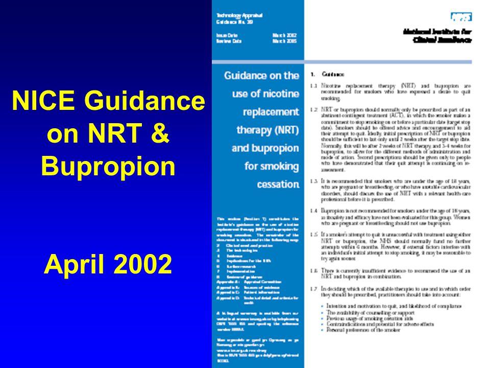 NICE Guidance on NRT & Bupropion April 2002