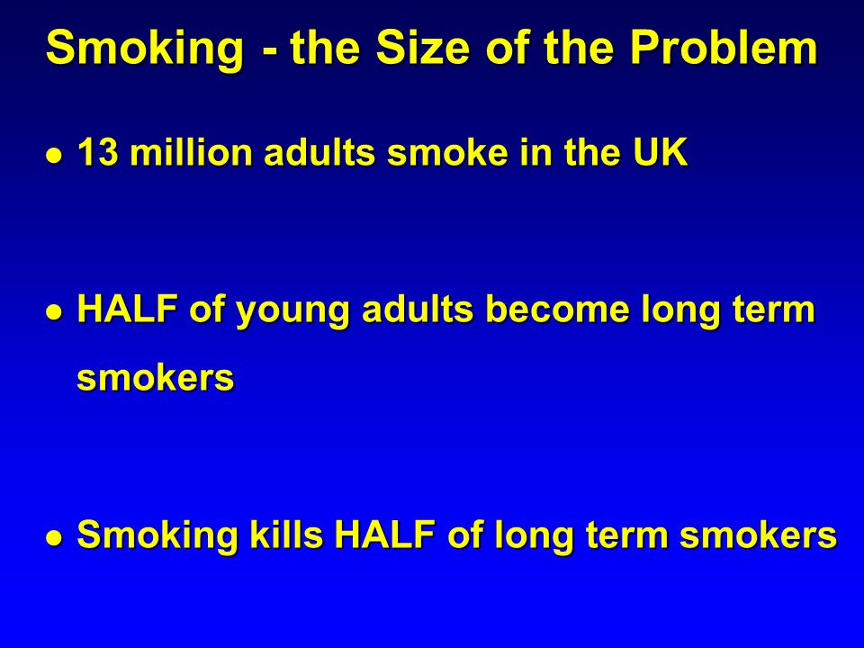 Smoking - the Size of the Problem 13 million adults smoke in the UK 13 million adults smoke in the UK HALF of young adults become long term smokers HA