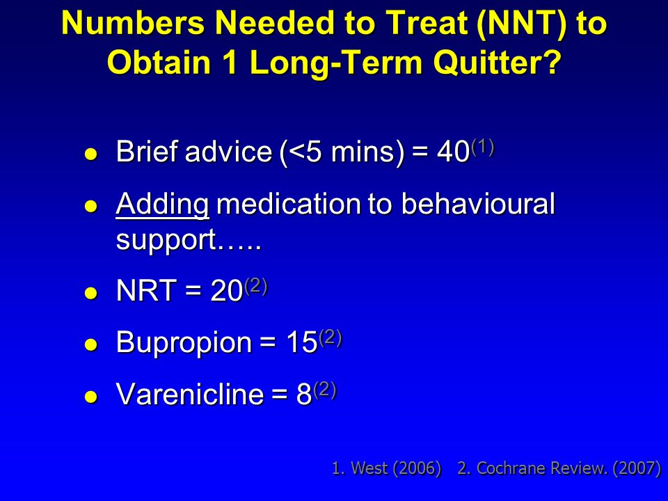Numbers Needed to Treat (NNT) to Obtain 1 Long-Term Quitter? Brief advice (<5 mins) = 40 (1) Brief advice (<5 mins) = 40 (1) Adding medication to beha